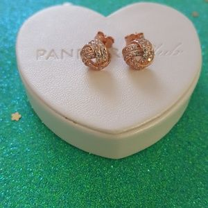 Authentic pandora rose color knot stud earrings
